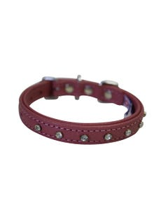Angel Athens Leather Dog Collar - Bubblegum Pink