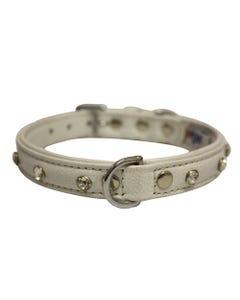 Angel Athens Leather Dog Collar - Ivory White
