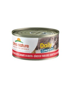 Almo Daily Complete Canned Wet Food for Cats - Tuna Dinner with Shrimps in Broth