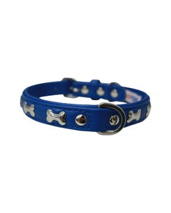 Angel Rotterdam Bones Dog Collar - Cobalt Blue