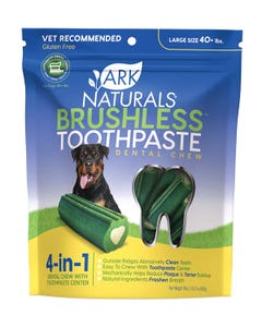 Ark Naturals Large Brushless Toothpaste Dental Chew for Dogs 40 lbs and up