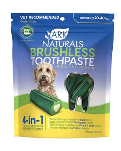 Ark Naturals Medium Brushless Toothpaste Dental Chew for Dogs 20 to 40 lbs