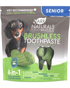 Ark Naturals Gray Muzzle Brushless Toothpaste Dental Chews for Small to Medium Senior Dogs