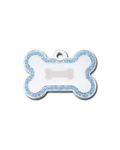 Dog ID Tag - Chrome Bone with Sapphire Rhinestones