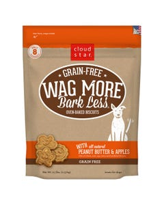 Cloud Star Wag More Bark Less Grain Free Baked Biscuits - Peanut Butter & Apples