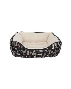 Dogit DreamWell Cuddle Bed Rectangular - Black Woof