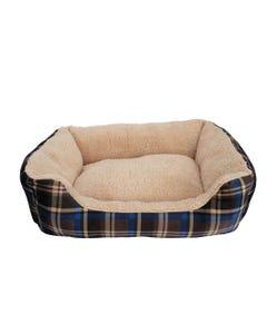 Dogit DreamWell Cuddle Bed Rectangular - Blue Tartan