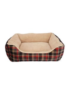 Dogit DreamWell Cuddle Bed Rectangular - Red Tartan