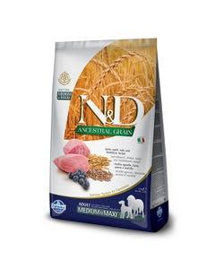 Farmina Natural & Delicious Ancestral Grain Canine Adult Medium & Maxi Dog Food Formula - Lamb & Blueberries