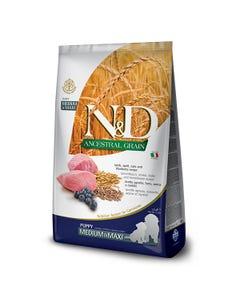 Farmina Natural & Delicious Ancestral Grain Canine Puppy Medium & Maxi Dog Food Formula - Lamb & Blueberries