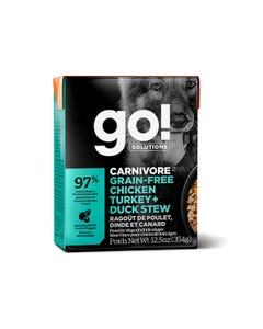 Go! Solutions Carnivore Grain Free Tetra Packs for Dogs - Chicken, Turkey & Duck Stew