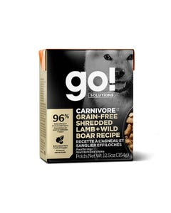 Go! Solutions Carnivore Grain Free Tetra Packs - Shredded Lamb + Wild Boar Recipe