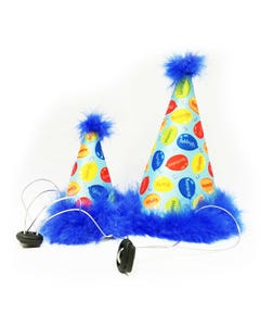 Huxley & Kent Party Time Party Hat in Blue for Dogs