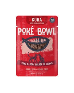 KOHA Poké Bowl Pouched Wet Food for Cats - Tuna & Beef Entrée in Gravy