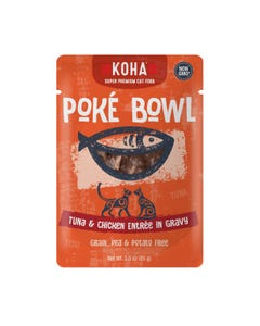 KOHA Poké Bowl Pouched Wet Food for Cats - Tuna & Chicken Entrée in Gravy