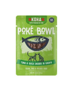 KOHA Poké Bowl Pouched Wet Food for Cats - Tuna & Duck Entrée in Gravy