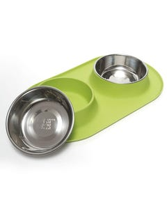 Messy Mutts Double Silicone Feeder for Dogs - Green