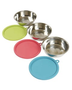 Messy Mutts 6 Piece Box Set (3 Stainless Steel Bowls & 3 Coloured Silicone Lids)