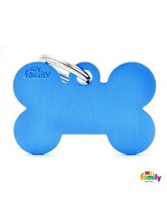 My Family Pet Friends Tag - Basic Blue Bone in Aluminum