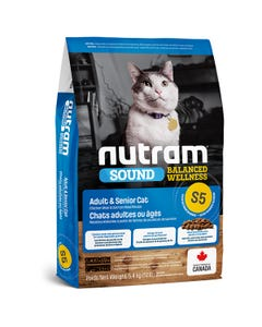 Nutram Sound S5 - Balanced Wellness Adult & Senior Cat Food - Chicken Meal and Salmon Meal Recipe