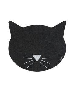 Ore' Pet Black Cat Face Recycled Rubber Pet Placemat