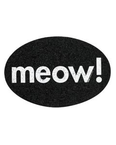 Ore' Pet Oval Meow Black Recycled Rubber Pet Placemat