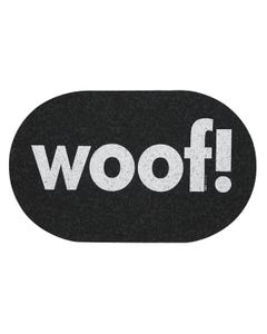 Ore' Pet Jumbo Oval Woof Black Recycled Rubber Pet Placemat