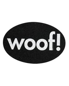 Ore' Pet Oval Woof Black Recycled Rubber Pet Placemat