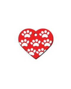 Dog ID Tag - Red Heart with White Paw Pattern
