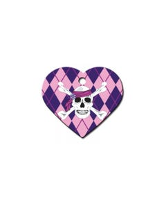 Pet ID Tag - Pink Heart with Skull