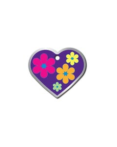 Pet ID Tags - Purple Heart with Flowers
