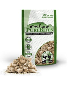 PureBites Freeze Dried Chicken Breast & Catnip Cat Treats - Front of Packaging with Treat