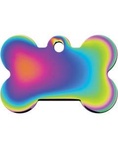 Dog ID Tag - Large Rainbow Bone