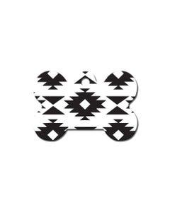 Dog ID Tag - Large Bone Aztec Black/White
