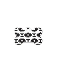 Dog ID Tag - Small Aztec Black and White Bone Tag