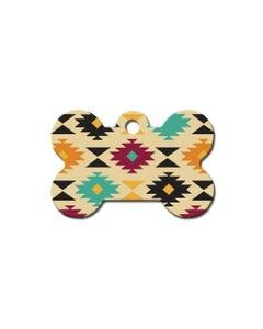 Dog ID Tag - Large Bone Aztec Multi Colors