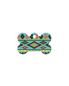 Dog ID Tag - Small Aztec Multi Color Bone Tag
