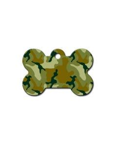 Dog ID Tag - Large Green Camo Bone Tag