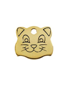 Red Dingo Brass Cat ID Tags - Cat Face - Small
