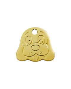 Red Dingo Brass ID Tags - Dog Face