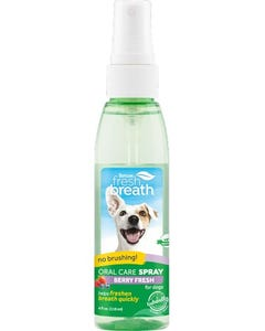 TropiClean Fresh Breath Oral Care Spray for Dogs With Berry Flavoring