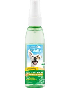 TropiClean Fresh Breath Oral Care Spray for Dogs With Peanut Butter Flavoring