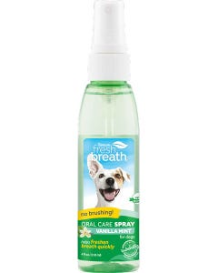 TropiClean Fresh Breath Oral Care Spray for Dogs With Vanilla Mint Flavoring