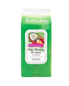 Tropiclean Deep Cleaning Wipes for Pets - Berry & Coconut