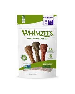 Paragon Whimzees Brushzees Natural Daily Dental Dog Treats - X-Small - 28 Pack