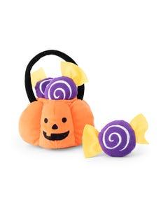 ZippyPaws Halloween Burrow - Trick-or-Treat Basket Dog Toy - Set