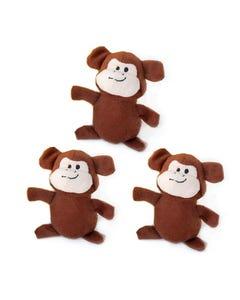 ZippyPaws Miniz 3-Pack Monkeys