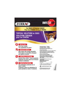 Zodiac Infestop Flea & Tick Topical Solution for Dogs - 4.5 kg and Under