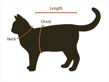 RC Pet Cat Harness Sizing Chart